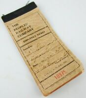 Vintage The Peoples' Railway Company Employee Ticket Booklet by Globe Ticket Co.