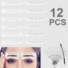 12 PCS Eye Brow Shaper Makeup Template Eyebrow Grooming Shaping Stencil Set DIY
