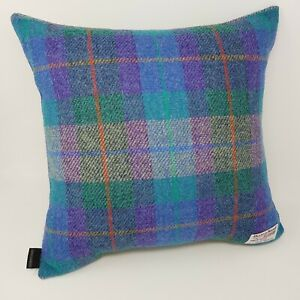 BLUE HARRIS TWEED Check Coastal handmade Cushion Cover with contrast back option