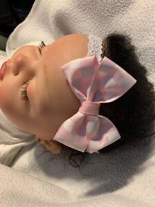 White Soft Pink Checkered Flag Hair Bow Headband Preemie Newborn Toddler Nascar