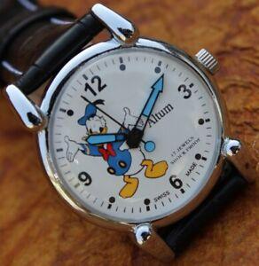 Antique Altum Vintage Style FHF ST96 HAND WINDING White Cartoon Dial Wrist Watch