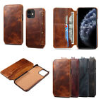 For iPhone 11 12 13 Pro Max XR 7 8 Genuine Leather Wallet Flip Phone Case Cover