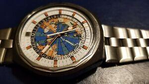 Vintage EDOX 42 Geoscope GMT World Timer Mens Watch
