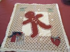 HAND SEWN MADE WALL HANGING GINGER BREAD MAN PIECED APPLIQUE BUTTONS RIBBONS