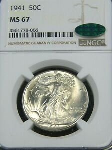 1941 Walking Liberty Half Dollar NGC MS67 CAC White Superb Luster #55C