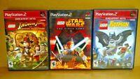 PS2 PlayStation 2 - 3 Game LEGO Lot Complete - Batman, Star Wars, Indiana Jones