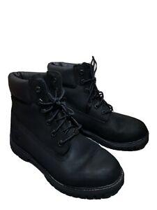 Timberland Women's Boots 7W/38  Black Nubuck Premium 6 Inch Waterproof Lace Up