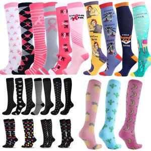 Multicolor Women Men Print Long Thigh Socks Compression Stretch Socks Calf Socks
