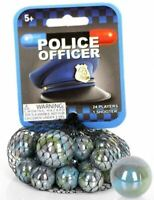 "Net Bag of 25 ""Police Officer"" Glass Mega Marbles 24 Players & 1 Shooter RETIRED"