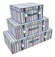 Striped Underbed Storage Box Fabric Wardrobe Store Bed Organiser S M L