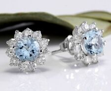 Women 925 Silver Ear Stud Lotus Flower Crystal Aquamarine Cluster Bridal Earring