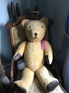 ANTIQUE VINTAGE LARGE JOINTED SWIVEL HEAD TEDDY BEAR WITH PADDED PAWS AND FEET