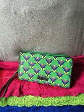 Handbag Vera Bradley Green Multi Floral Coated Canvas Organizer Zip Wristlet