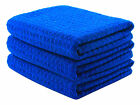"""3X Waffle Weave Thirsty Microfiber Deluxe Drying Towel Auto Home Kitchen 16 x24"""""""