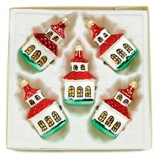 Red White Church Vintage Handblown Eastern Europe Glass Christmas Ornament Set