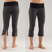 Lululemon women's Tadasana Slit Crop grey pants Sz 8