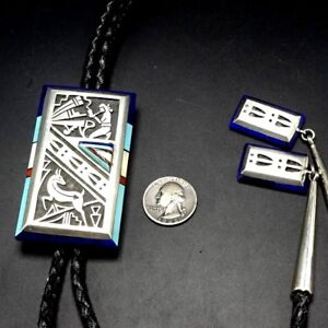 Vintage NAVAJO Sterling Silver OVERLAY and TURQUOISE Channel Inlay BOLO Tie