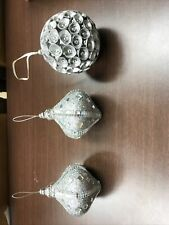 3 Christmas Ornaments Silver