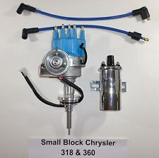 Chrysler Small Block 273-318-340-360 Blue Small CAP HEI Distributor +Chrome Coil