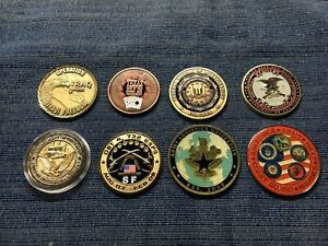 Lot of 8 Various Challenge Coins