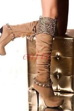 Sexy Leopard Slouch Knee High Boots Womens High Stilettos Metal Tassles Shoes SZ