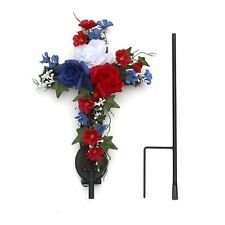 Solar Lighted Cross Stake With Flowers - Garden Or Cemetery Memorial Stake