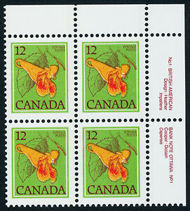 Canada 712i TR Plate Block MNH Flower, Jewelweed