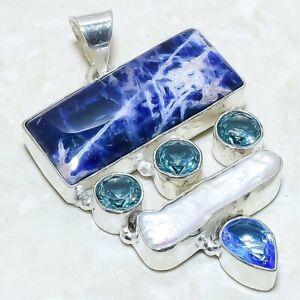 "Sodalite, Biwa Pearl Gemstone Handmade Silver Jewelry Pendant 2.0"" PRJ5873"