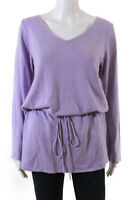 Eileen Fisher Womens Drawstring Waistband V Neck Sweater Purple Silk Size Small
