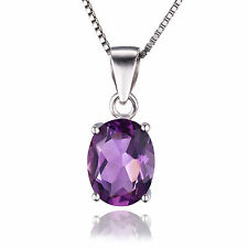 1.7ct Natural Oval Amethyst Necklace Pendant 925 Silver special occasion ladies