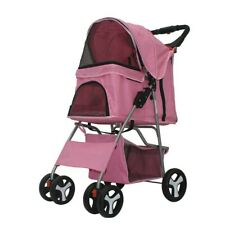 New Pet Stroller Cat Dog Cage 4 Wheels Stroller Travel Folding Carrier USA