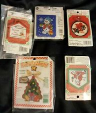 Lot of 5 Counted Cross Stitch Kits Christmas Ornaments