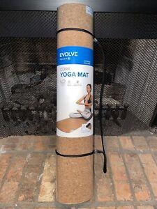 "Evolve by Gaiam Cork Yoga Mat Blocks Germs Non-slip Eco Friendly 64""x23.5"""
