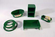 Sylvanian Vintage Green Baby Nursery Furniture Crib Bath Cradle