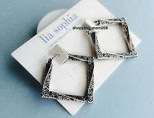 "Lia Sophia ""Aspect"" Matte Silver Tone Earrings with French Wires"