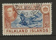 FALKLAND ISLANDS  SG 161  1938 GVI 5/-   SUPERB USED