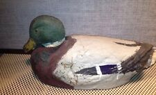 1941 Carry-Lite paper-mâché Duck decoy Wood Bottom Glass Eyes Blue Tail West Vtg
