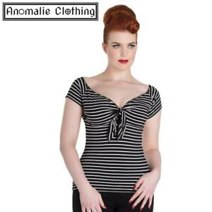 Hell Bunny Black and White Striped Hannah Top - 1950s Vintage Retro Rockabilly