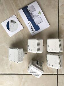 Five (5) Devolo dLAN 500 Wifi Powerline Extenders MT2585, MT2504
