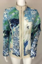 Weekends By Chico's Mesh Sheer Zippered Jacket Blue Beige Floral Size 1