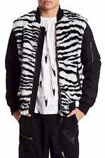 MOSCHINO Men's Long Faux Fur Jacket, Black/White, 50 EURO/Medium US, MSRP $1,180