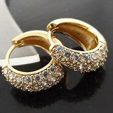 FSA045 GENUINE 18K ROSE G/F GOLD SOLID DIAMOND SIMULATED HUGGIE HOOP EARRINGS