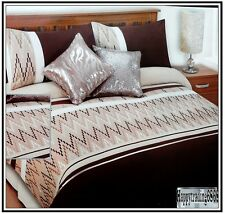 280TC Latte Chocolate Brown Beige Embroidery * 3pc KING QUILT DOONA COVER SET