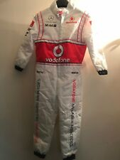 JENSON BUTTON HAND SIGNED VODAFONE MCLAREN MERCEDES KIDS OVERALL RACE SUIT RARE.