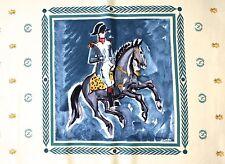Napoleon Courvoisier  Vintage silk scarf - Yves Brayer - Large