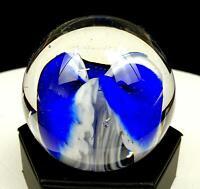 "RUSU SIGNED GLASS EYE STUDIO COBALT & WHITE FLOWER 2 7/8"" ROUND PAPERWEIGHT 1992"