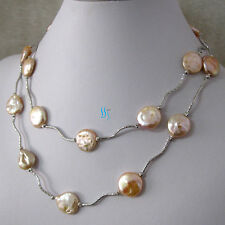 """35"""" 13-14mm Peach Pink Coin Freshwater Pearl Necklace Tube W UK"""