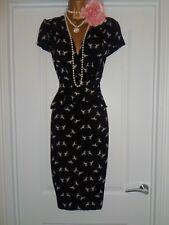 Vintage 40s 50s WW2 Style Bird Print Tea Peplum Wiggle Dress Size 14