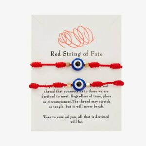 2pcs Lucky Evil Eye String Bracelet 7 Knots Protection Red Rope Bangle Gifts New