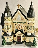 SANTA'S WORKBENCH LIGHTED CHURCH OF THE MESSIAH SUPERBLY DETAILED HP PORCELAIN